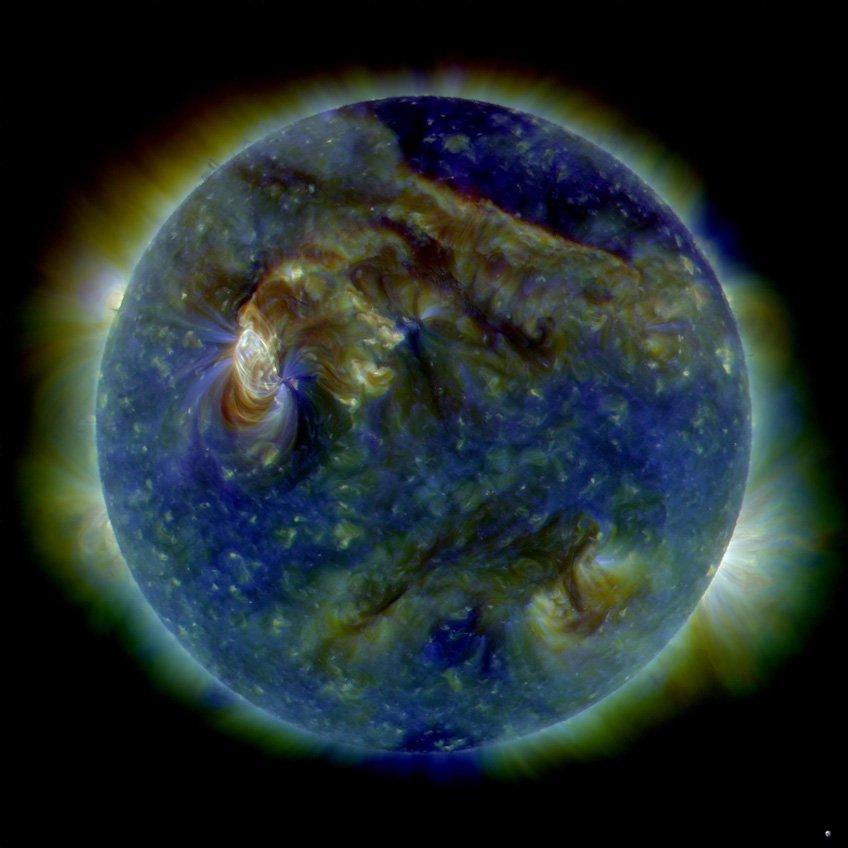 Multi-wavelength extreme ultraviolet photo of solar events. Image Credit: NASA/SDO/AIA