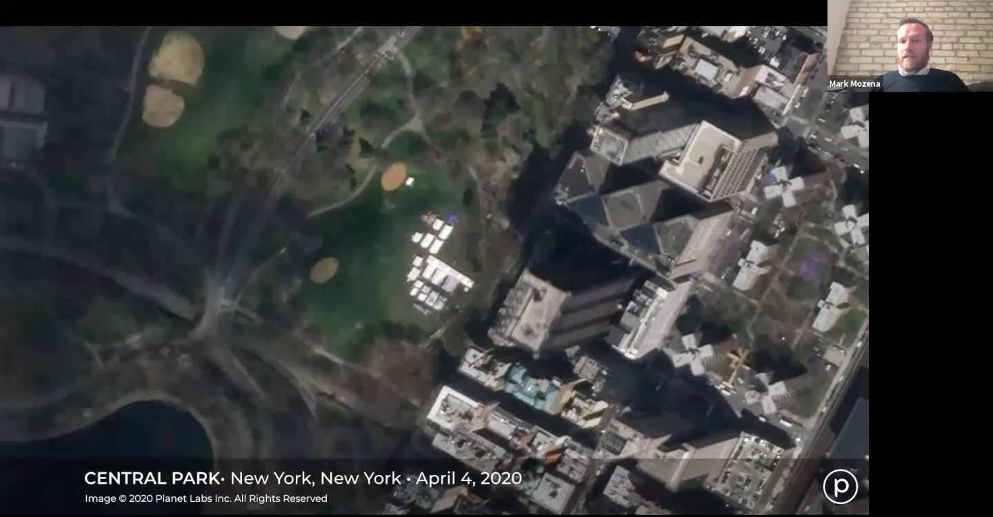 Central Park, Planet, satellite image, coronavirus pandemic, geospatial data